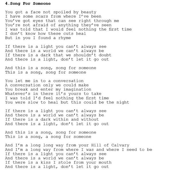 Votre version de Song For Someone sur U2.com