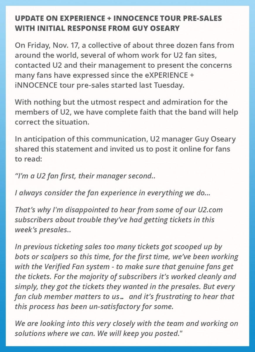 Communiqué concernant les préventes pour le #U2eiTour et réponse initiale de Guy Oseary.